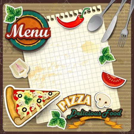 pizza: Men� para la pizza con hoja de papel en el que escribe los efectos ingredientes vintage puede ser efectos de mezcla de removido transparencia y el gradiente de malla EPS10