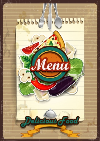sheet menu: Cover menu with sheet of paper where you write the ingredients -Vintage effects can be removed-transparency blending effects and gradient mesh