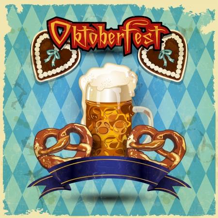 bavarian: Glasses of beer with pretzels