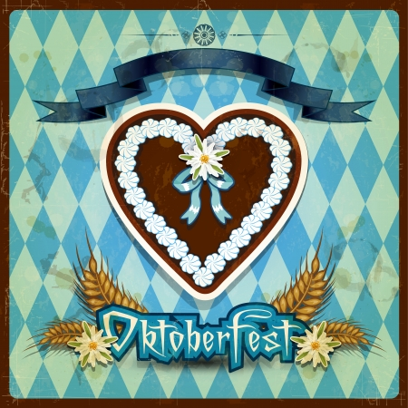 oktoberfest food: Ginger Snap shaped heart with decorations-Vintage effects can be removed- Transparency blending effects and gradient mesh-EPS 10
