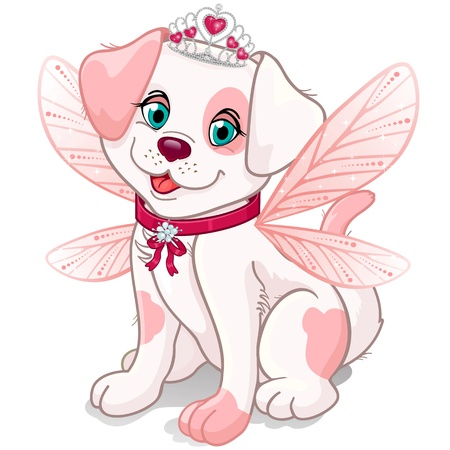 Dog dressed up as a princess fairy with pink wings Illustration