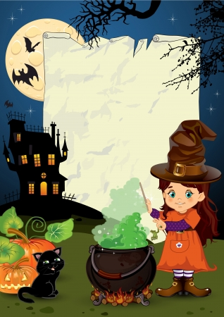 spell: Little witch who casts a spell Background with parchment paper Illustration