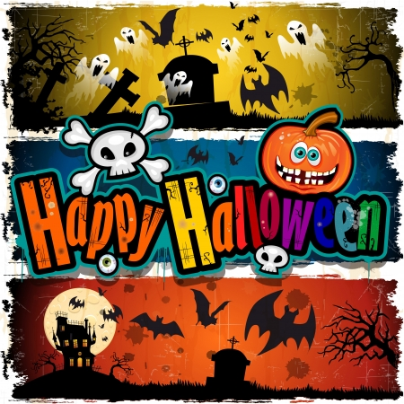 halloween cartoon: Set of Happy Halloween Banner Illustration