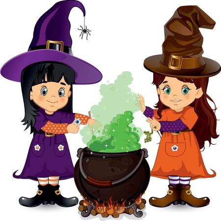 edad media: Pequeñas brujas que hacen un hechizo