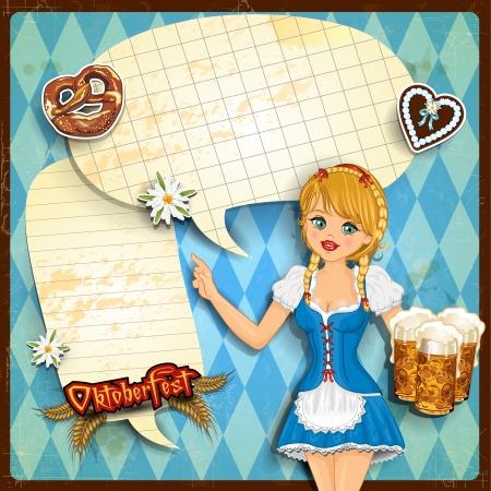 Waitress with vignette Bavaria Vector