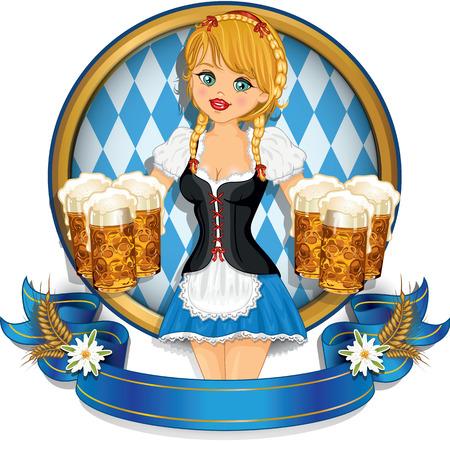 octoberfest: Camarera Baviera ingenio tazas de cerveza decorado-m?ltiples efectos de fusi?n niveles de transparencia y el gradiente de malla EPS 10.