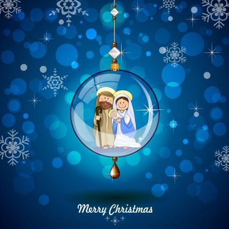 Heilige Familie in transparante bal opknoping op blauwe achtergrond met verlichting en reflecties