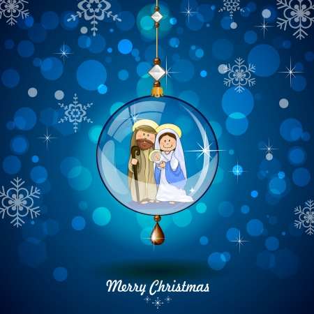 Holy Family in transparent ball hanging on blue background with lights and reflections