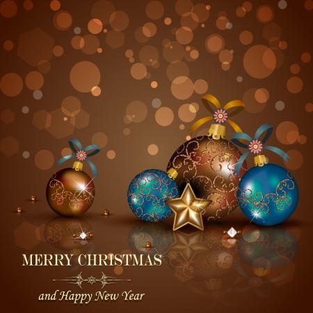 fondo chocolate: Adornos navide�os y decoraciones en fondo de chocolate Vectores