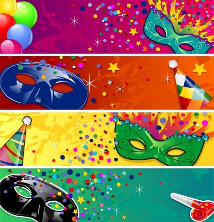mascara de carnaval: Conjunto de cuatro banderas del vector de carnaval m�scaras con cuernos ideales para fiestas-transparencia efectos de mezcla y el gradiente de malla EPS10 Vectores