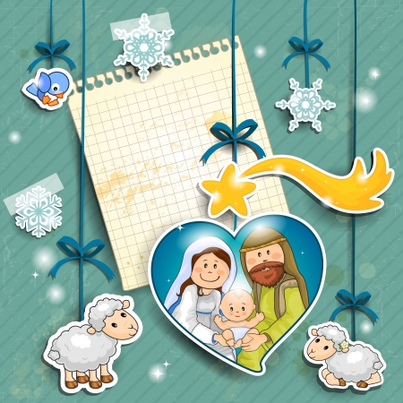 nativity: Stickers depicting the characters of the nativity with the piece of paper where you can insert your own text-transparency blending effects and gradient mesh-EPS 10 Illustration