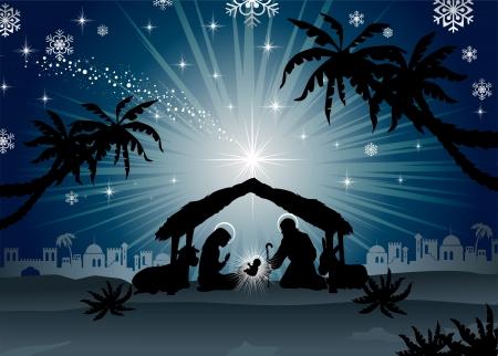 Kerststal met de Heilige Familie van oosterse-landschap mengen gevolgen en transparantie verloopnet-EPS10 Stock Illustratie