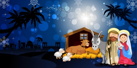 nativity: Holy Family in Bethlehem on the night with hut donkey and ox-transparency blending effects and gradient mesh-EPS10 Illustration