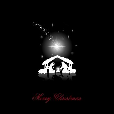 Kerststal met de Heilige Familie witte silhouetten op een zwarte achtergrond-transparantie mengen gevolgen en verloopnet-EPS10 Vector Illustratie