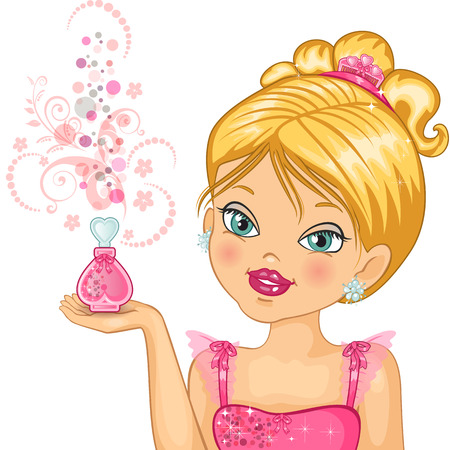 for children toys: little princess who is holding a bottle of perfume-transparency blending effects and gradient mesh-EPS10