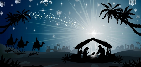 nativity scene with holy family and the three kings of oriental landscape-transparency blending effects and gradient mesh-EPS10 Illustration