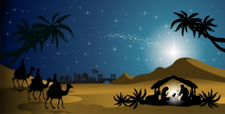 Kerststal met de Heilige Familie en de magiërs van oosterse landschap - transparantie mengen gevolgen en verloopnet-EPS10