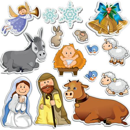 Set di adesivi di Natale che rappresentano i personaggi della Sacra Famiglia-Sfumatura maschera-Eps10 Archivio Fotografico - 23319101