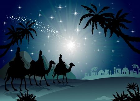 동부 투명도 혼합 효과와 그라디언트 메쉬-EPS (10)와 별이 빛나는 밤 풍경에 낙타 세 현명한 남자 일러스트