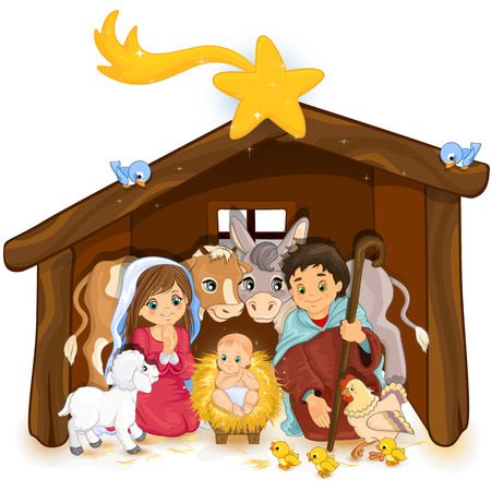 Heilige Familie in een hut en witte transparantie en mengen effecten verloopnet