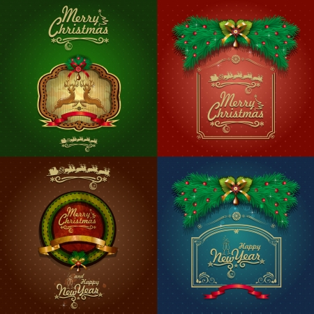 Christmas vintage background with four cards of various colors-transparency and blending effects gradient mesh EPS-10 Vector