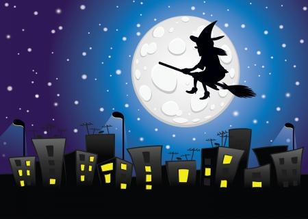 Hexe Silhouette fliegen über die Stadt-Mischen Transparenz-Effekte und Farbverlauf mesh Standard-Bild - 24527033