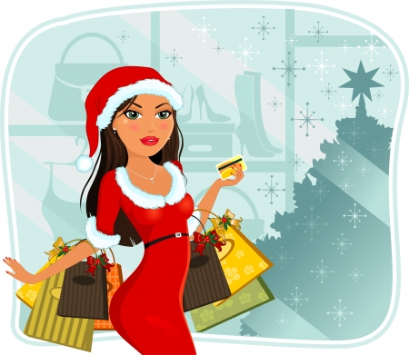 woman credit card: Woman with Christmas dress that makes shopping with credit card you-transparency blending effects and gradient mesh-EPS10  Illustration