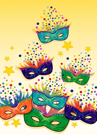 Label carnival masks  ideal for parties -transparency blending effects and gradient mesh Vector
