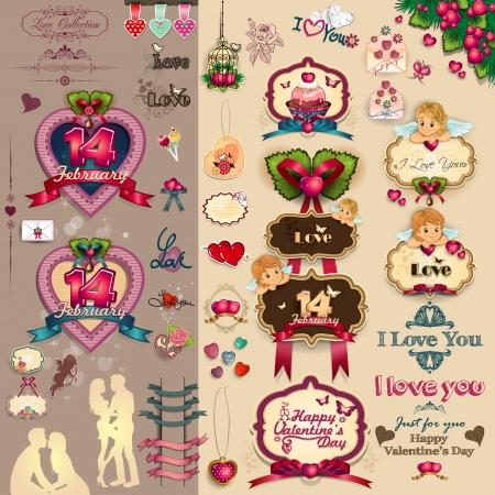 愛のキューピッド心やバレンタインデーの透明ブレンディング効果、グラデーション メッシュのための装飾のコレクション