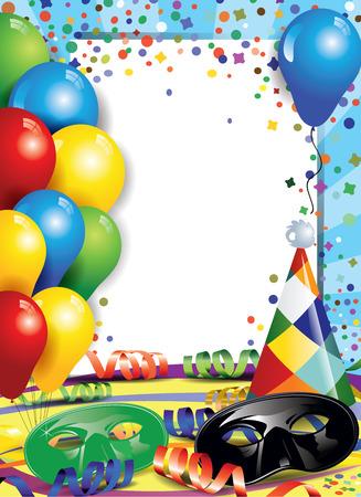 arlecchino: Maschere di Carnevale con coriandoli e palloncini, ideali per feste con lo spazio per inserire il tuo testo trasparenza effetti di fusione e gradiente maglie