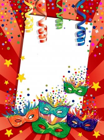 mascara de carnaval: Etiqueta de carnaval m�scaras ideales para fiestas con espacio para insertar su propio texto-la transparencia efectos de mezcla y el gradiente de malla Vectores