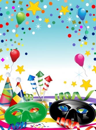 カーニバルの紙吹雪とマスクし、風船の独自のテキストを挿入するスペースでパーティーに最適の透明効果、グラデーション メッシュをブレンド  イラスト・ベクター素材