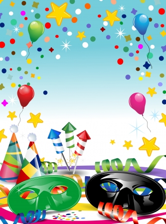 harlequin: Carnival masks with confetti and balloons ideal for parties with space to insert your own text -transparency blending effects and gradient mesh