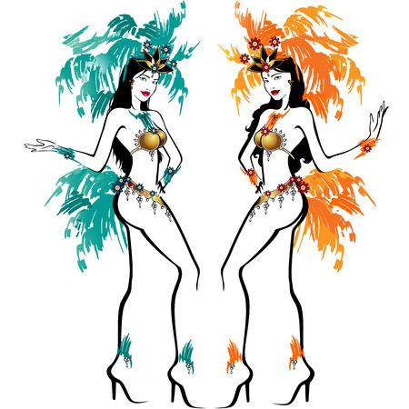 caribbean party: Dos bailarines de Brasil-fondo-aislado malla de degradado efecto-sin los efectos de la transparencia