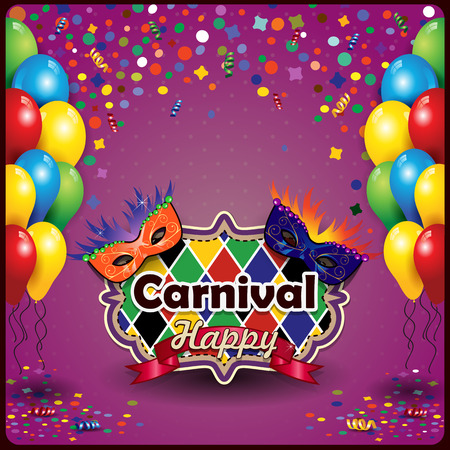 carnival costume: Carnival masks with balloons and confetti for parties with space to insert your text-transparency  blending effects and gradient mesh Illustration