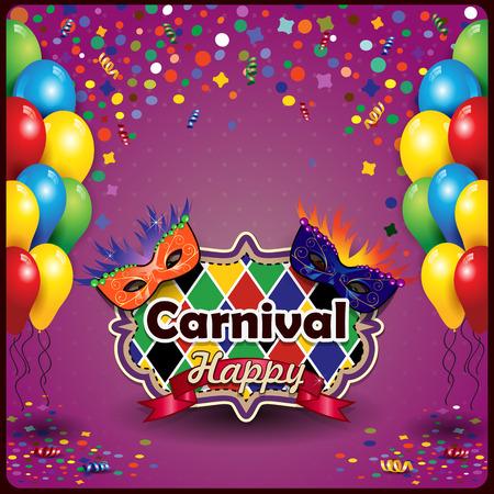 serpentinas: Máscaras de carnaval con globos y confeti para fiestas con espacio para insertar el texto-la transparencia efectos de mezcla y el gradiente de malla Vectores