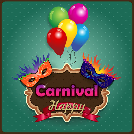 carnival costume: Label carnival masks  ideal for parties with space to insert your own text -transparency blending effects and gradient mesh
