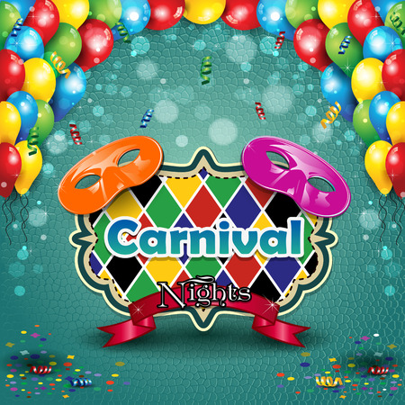 Carnival masks with balloons and confetti for parties with space to insert your text-transparency blending effects and gradient mesh Illustration
