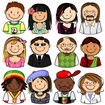 Collection of various different characters multiracial half-length isolated Vector Illustration