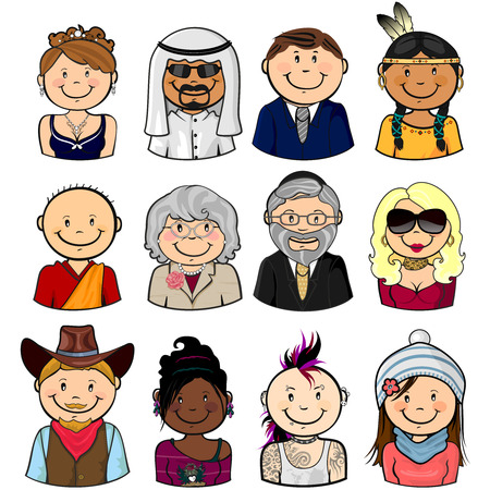 indian student: Collection of various different characters multiracial half-length isolated