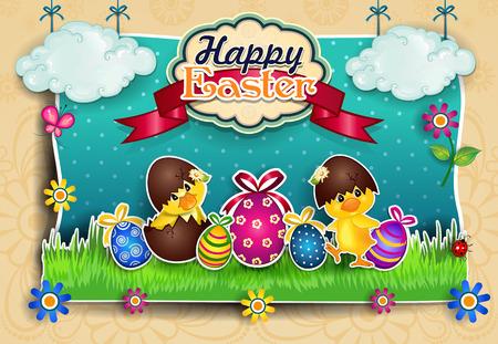 pasqua: Uova di Pasqua con i pulcini del fumetto Montati venire Uno Sfondo coreografia decorato con diversificazione Effetti di Livelli-Trasparenza-Fusione e gradiente Maglie-EPS 10 Illustration