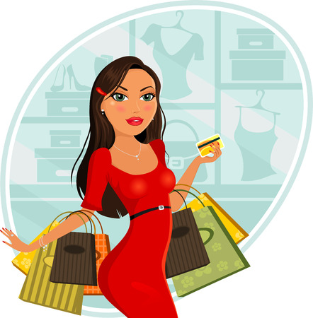 Fashionable woman who makes purchases for stores-two level-gradient mesh-without the effects of transparency-EPS 8 Vector