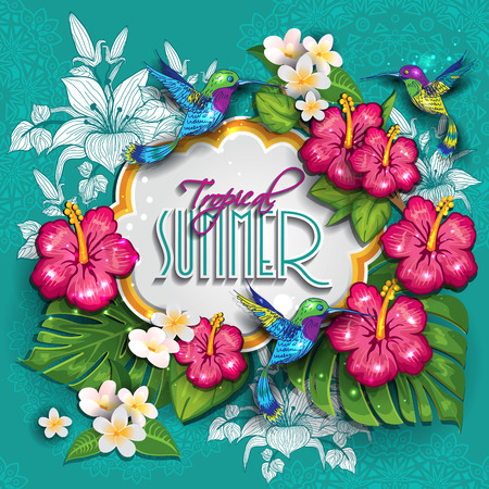 Label with  tropical floral useful for the summer.  Vector