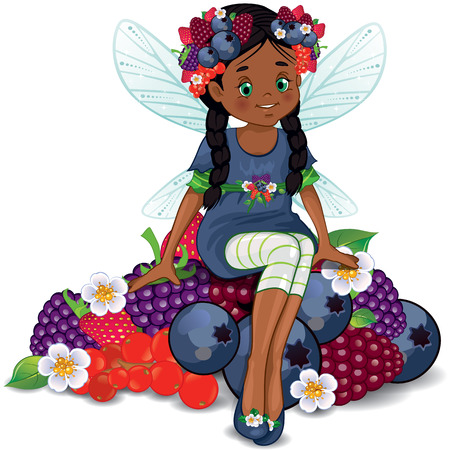 Character of fantasy, fairy sitting on berries  Vector