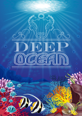 ocean floor: Seabed where there are fish coral Illustration