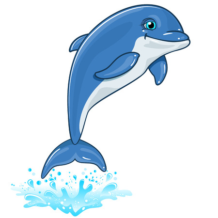Dolphin with water spray isolated on white