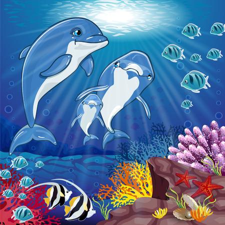 ocean floor: Dolphins on sea background