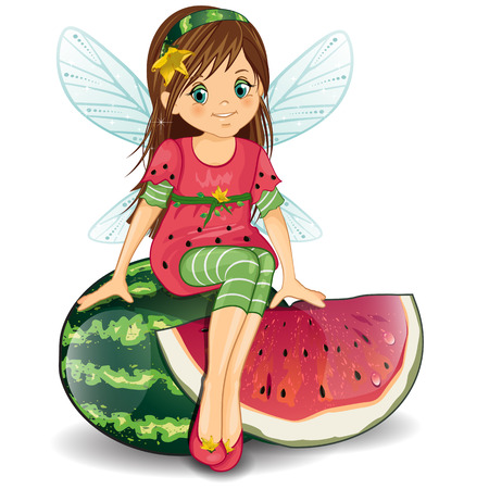 watermelon woman: Character of fantasy fairy sitting on a watermelon