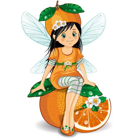 ファンタジー妖精オレンジの上に座っての文字