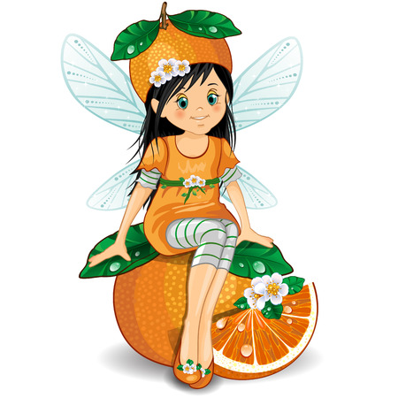 Character of fantasy fairy sitting on an orange